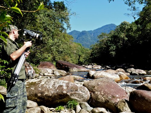 Luciano filming at Nhundiaquara River in the Atlantic Rainforest