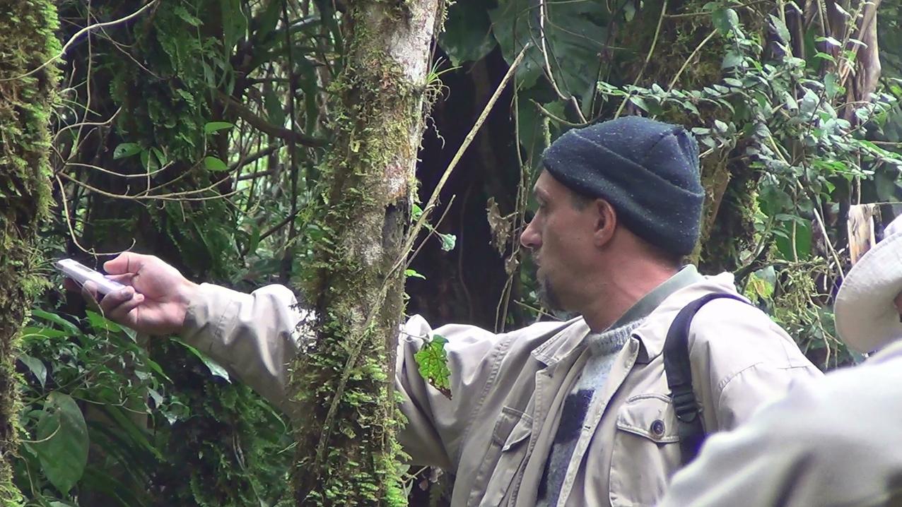 Luciano gravando a vocalização da borralhara-assobiadora